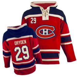 Montreal Canadiens Ken Dryden Official Red Old Time Hockey Premier Adult Sawyer Hooded Sweatshirt Jersey