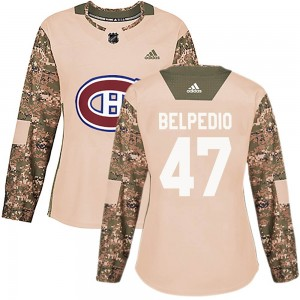 Montreal Canadiens Louie Belpedio Official Camo Adidas Authentic Women's Veterans Day Practice NHL Hockey Jersey