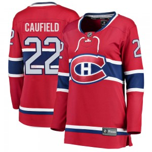 Montreal Canadiens Cole Caufield Official Red Fanatics Branded Breakaway Women's Home NHL Hockey Jersey