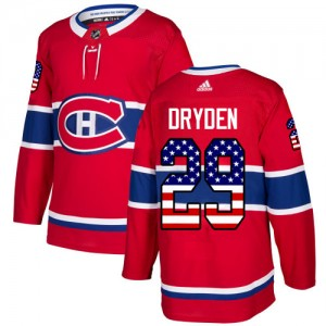 Montreal Canadiens Ken Dryden Official Red Adidas Authentic Youth USA Flag Fashion NHL Hockey Jersey